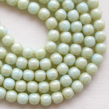4mm Round Czech Glass Beads Pale Turquoise Stardust - 100